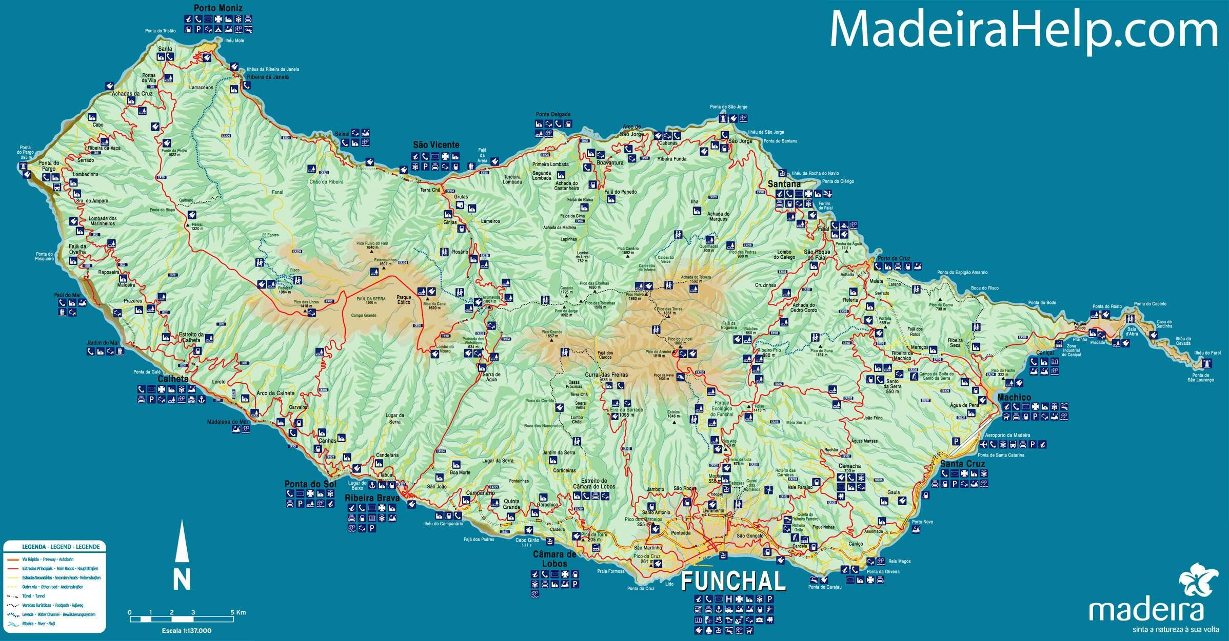 Madeira Portugal Map Map Of Portugal Madeira Southern Europe