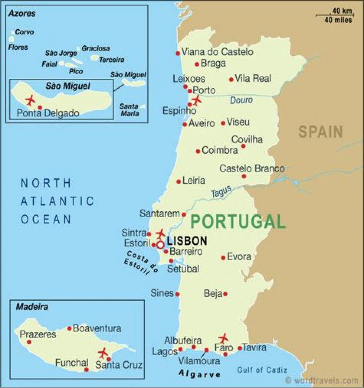 Portugal Airports Map Map Of Airports In Portugal