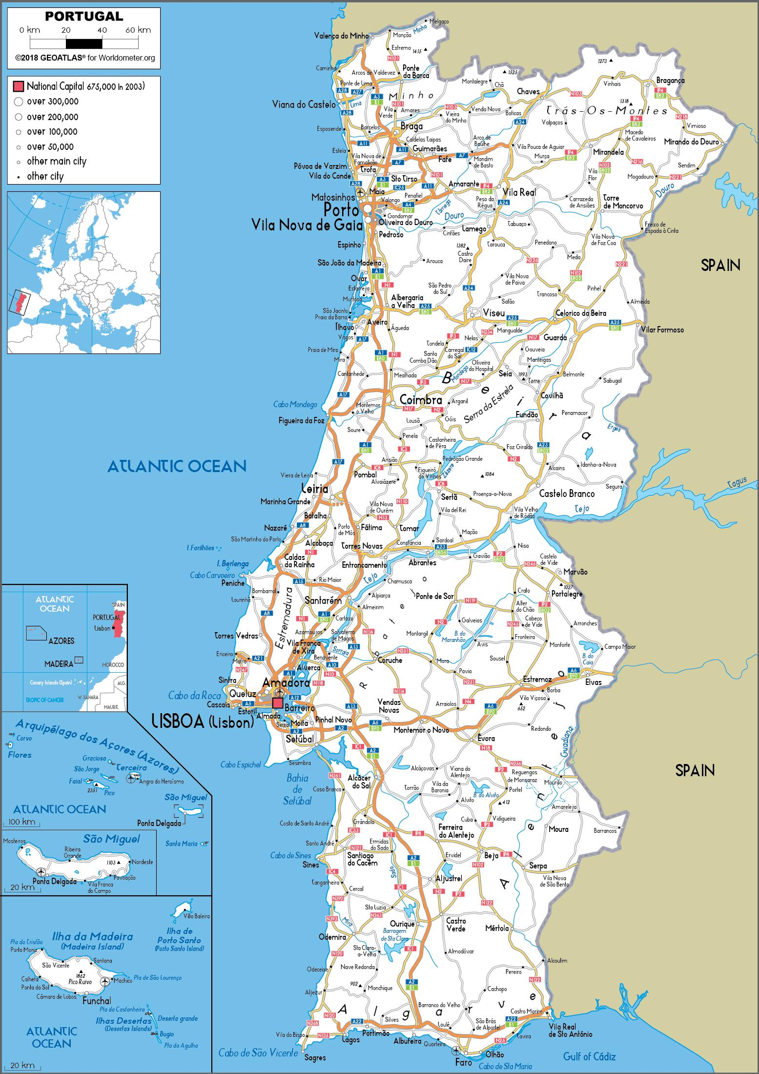 Portugal Cities Map Map Of Portugal Cities Southern Europe