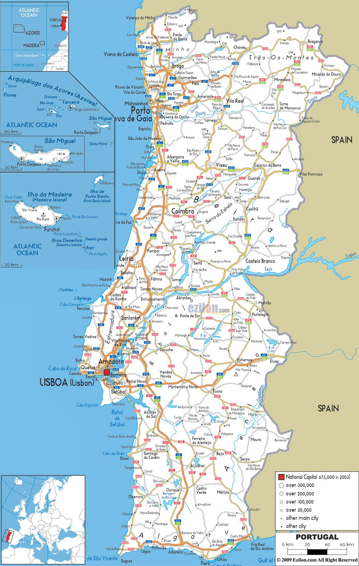 Portugal Road Map Road Map Of Portugal Southern Europe Europe