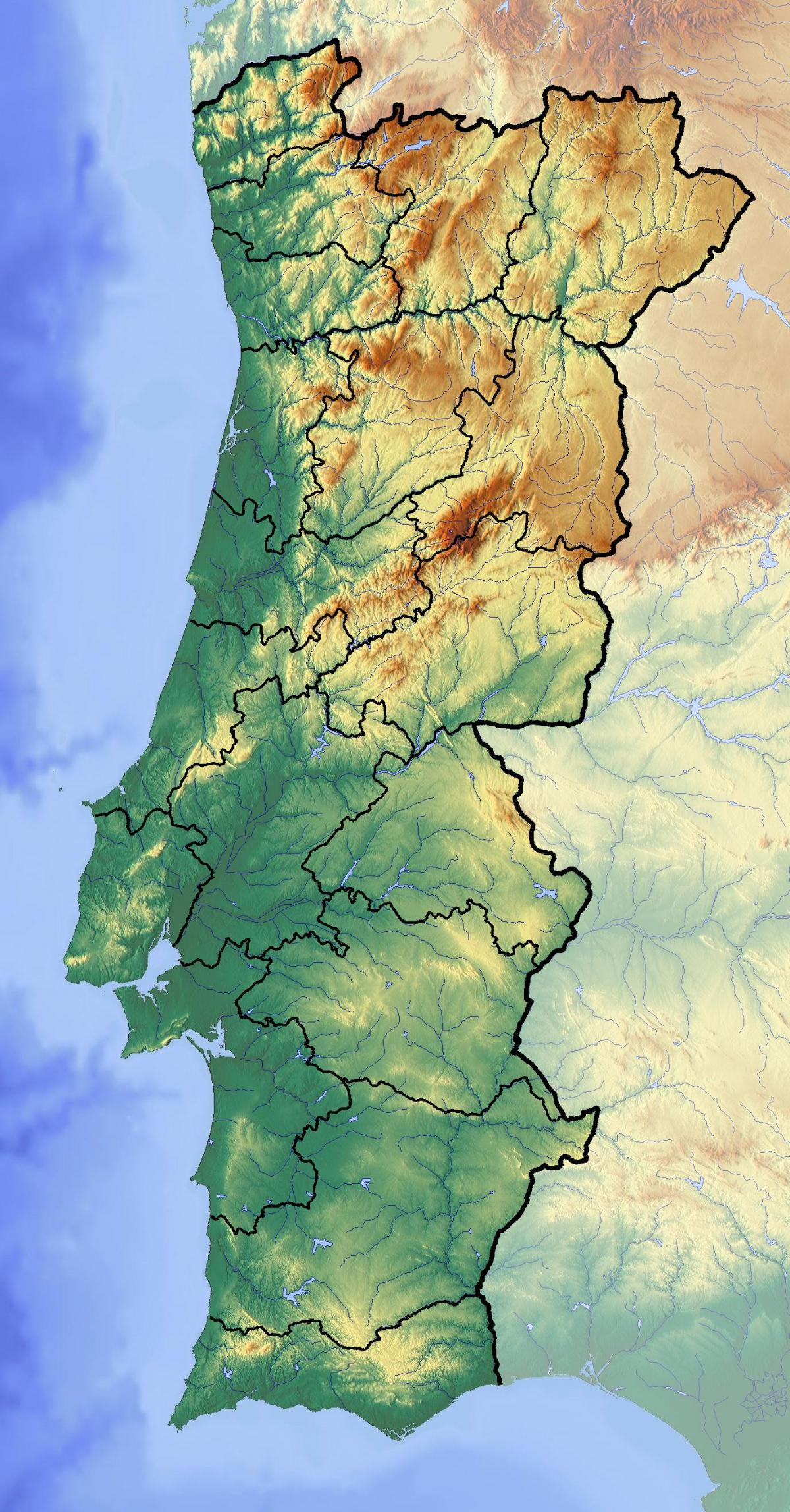 map of Portugal elevation