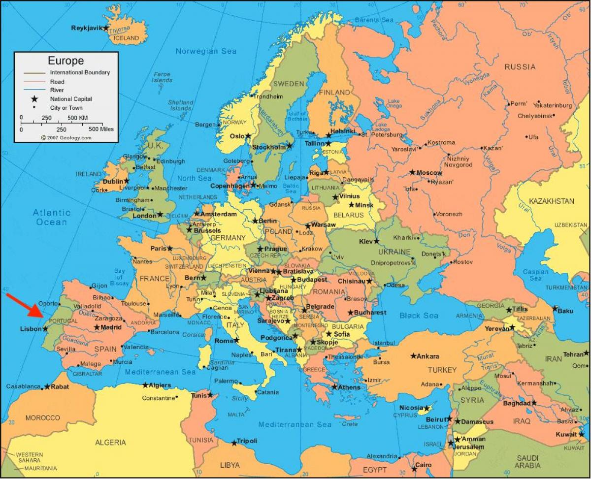 portugal on the map of europe Portugal map Europe   Map of Europe Portugal (Southern Europe