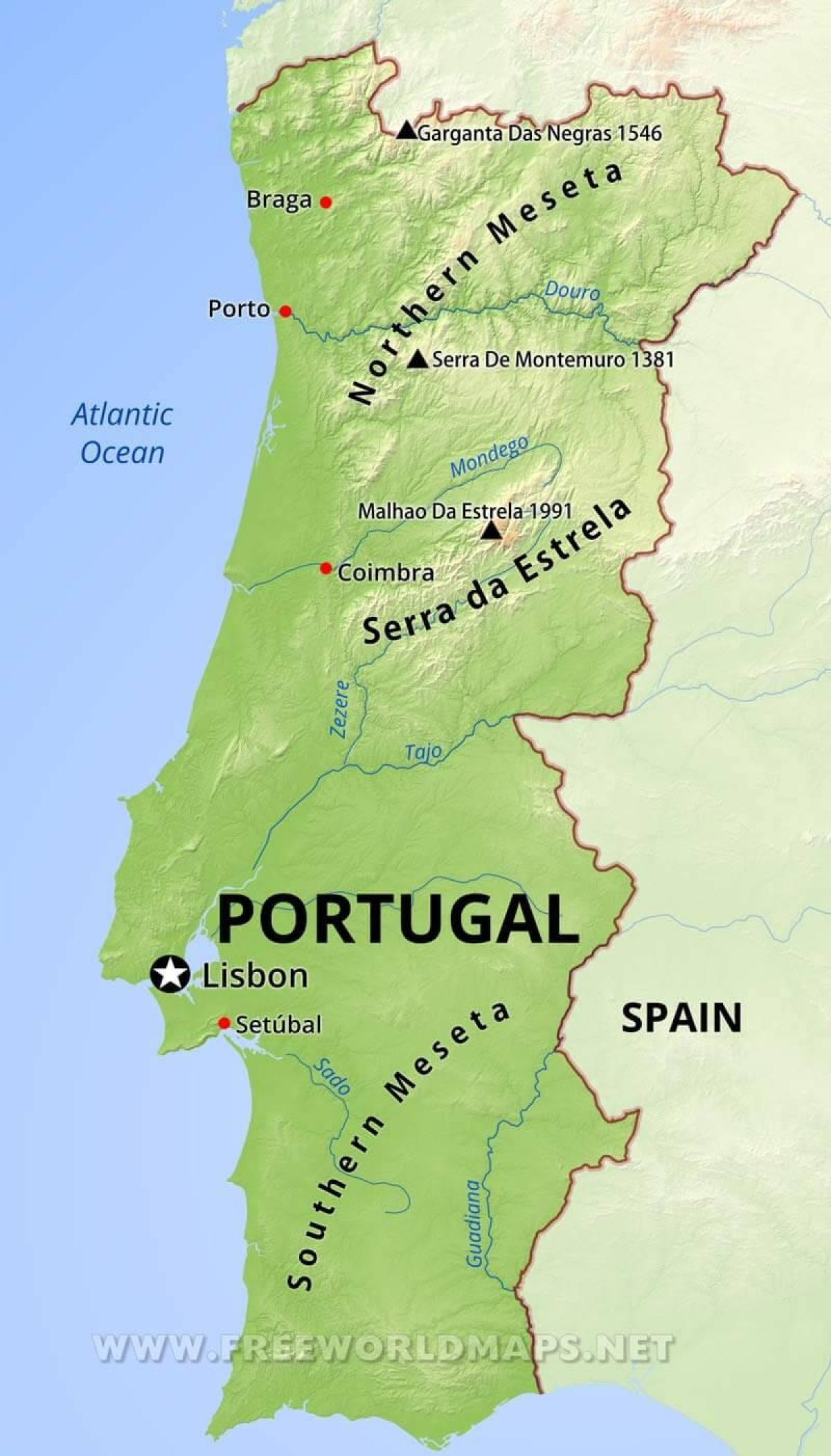 mountains in Portugal map