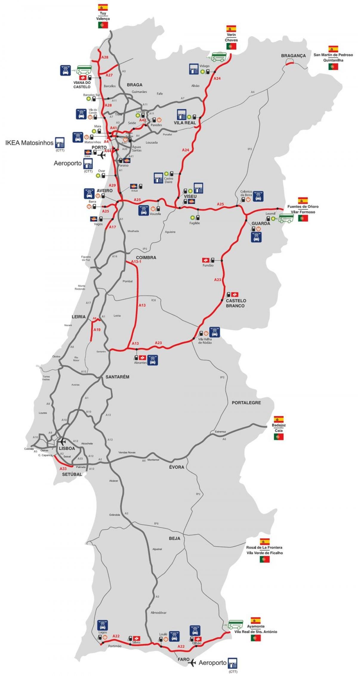 map of toll roads in Portugal