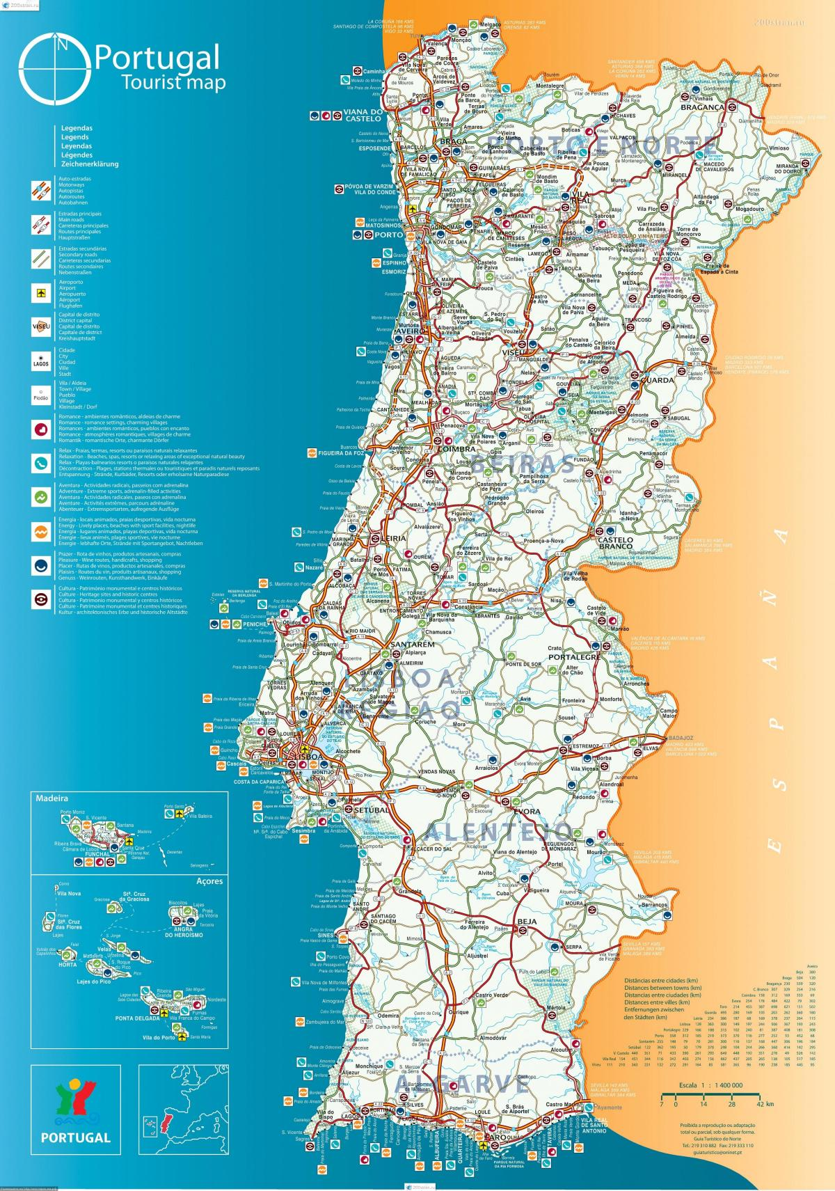 tourist map of Portugal