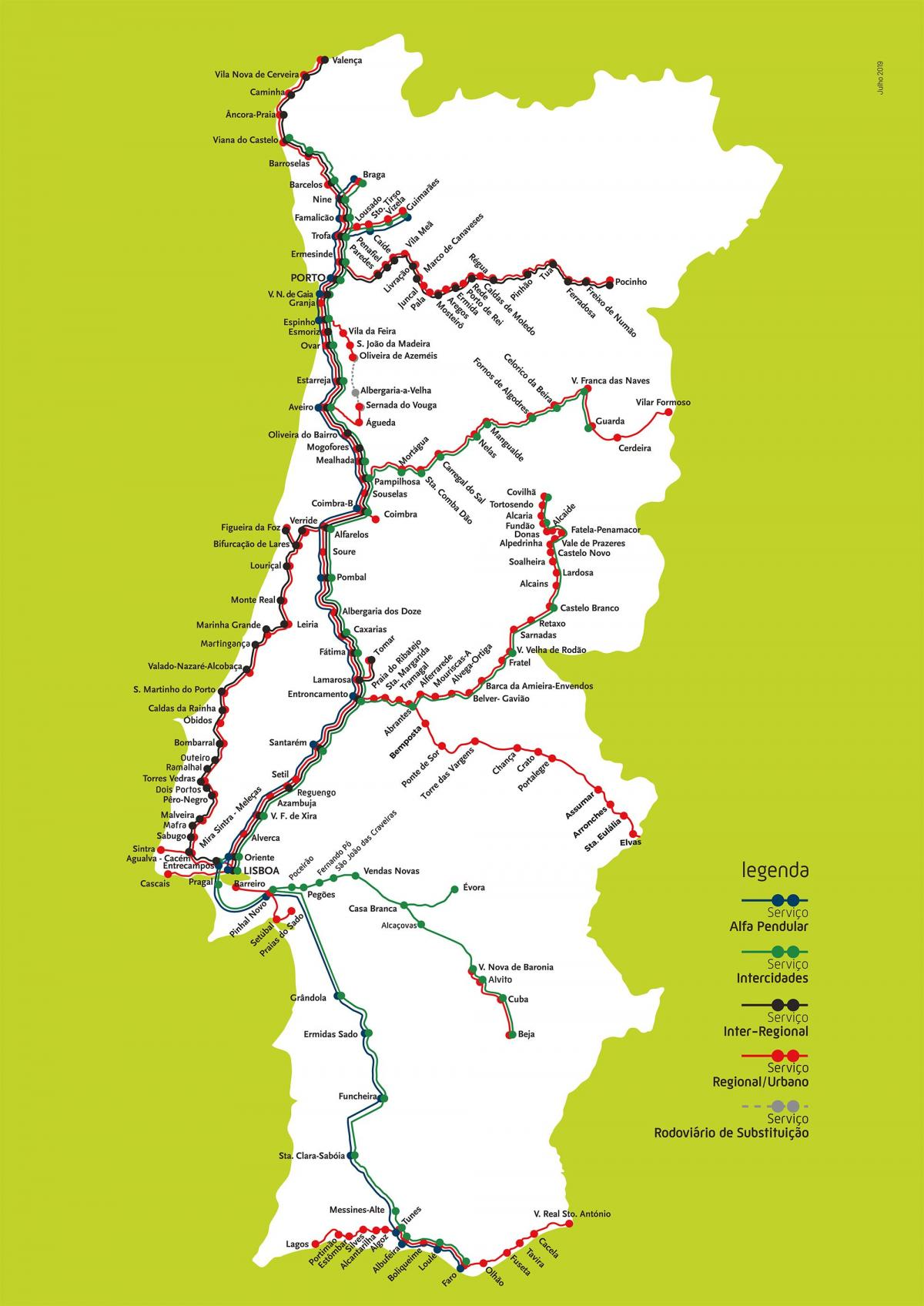 train map Portugal