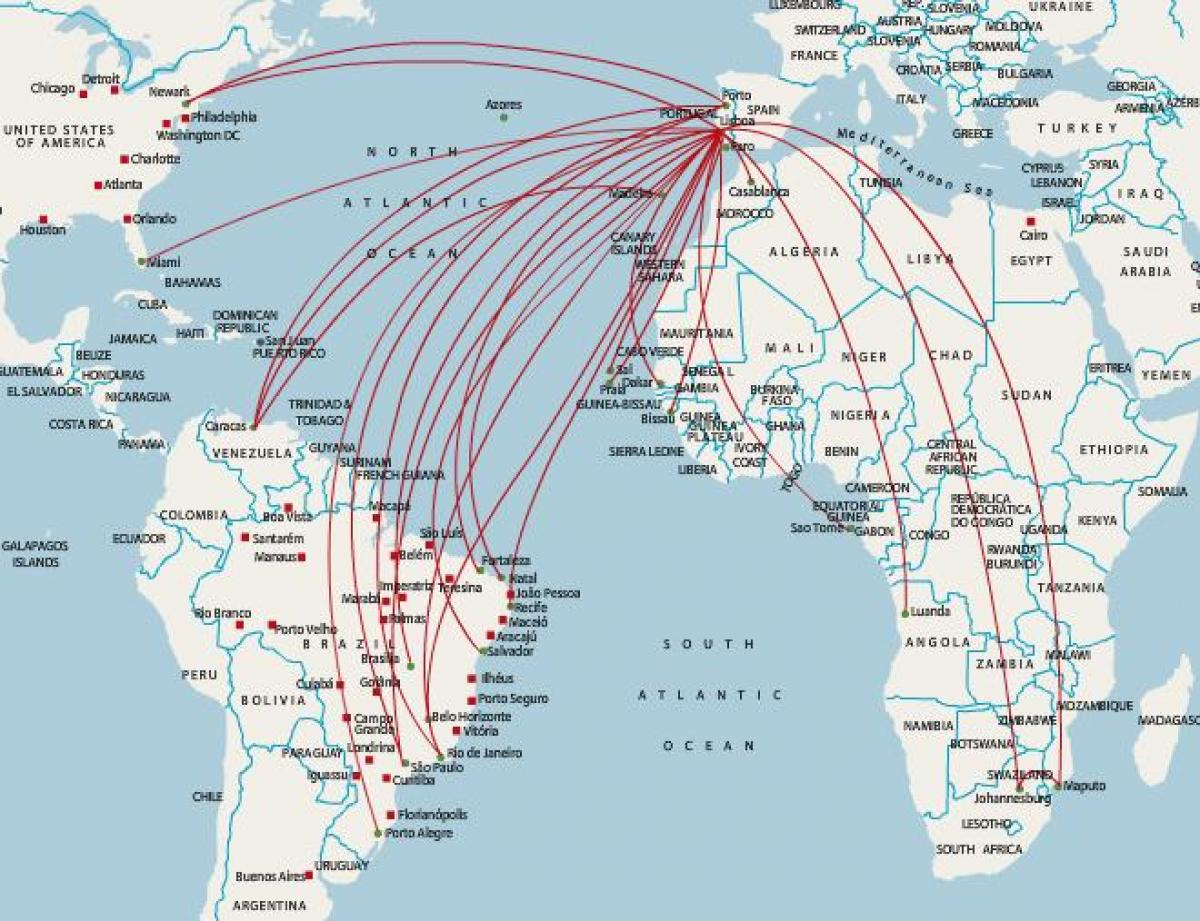tap Portugal destinations map