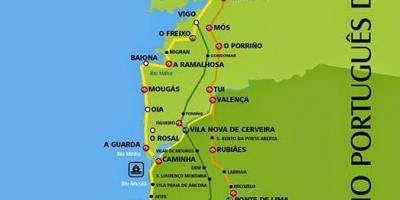 Portuguese camino coastal route map