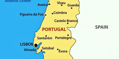 Porto on map of Portugal
