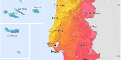 Map of Portugal sunshine